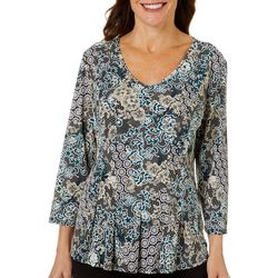 Sami & Jo Petite Fit & Flare Mixed Floral Print Top