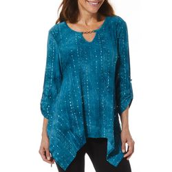 Sami & Jo Petite Notch Neck Roll Tab Fiesta Top