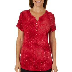 Sami & Jo Petite Embellished Fiesta Button Neckline Top