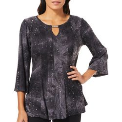 Sami & Jo Petite Gomez Embellished Keyhole Bar Neck Top