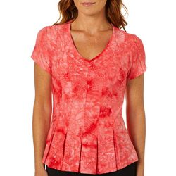 Sami & Jo Petite Fit & Flare Tie Dye Short Sleeve Top