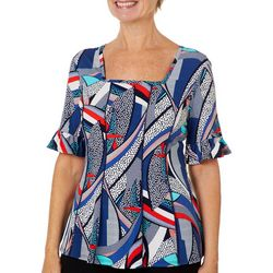 Sami & Jo Petite Abstract Puff Print Ruffle Sleeve Top