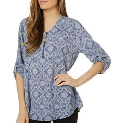 Cathy Daniels Petite Medallion Print Roll Tab Top
