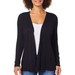 Premise Petite Solid Ribbed Open Front Cardigan