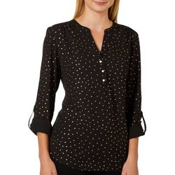 Zac & Rachel Petite Foil Dot Button Down Roll Tab Sleeve Top