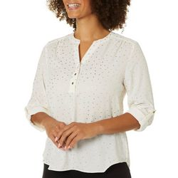 Zac & Rachel Petite Foil Dot Button Down Roll Tab Sleeve Top
