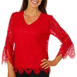 Zac & Rachel Petite Solid Lace Bell Sleeve V-Neck Top