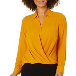 Zac & Rachel Petite Solid Surplice Crepe Long Sleeve Top