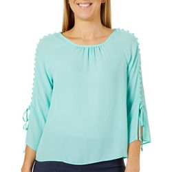 Zac & Rachel Petite Solid Button Embellished Bell Sleeve Top