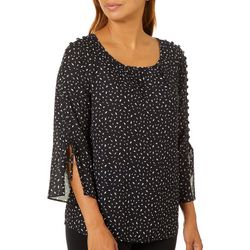 Zac & Rachel Petite Print Button Embellished Bell Sleeve Top