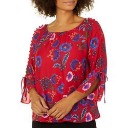 Zac & Rachel Petite Floral Print Button Embellished Top