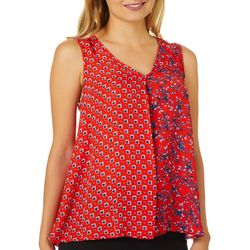 Zac & Rachel Petite Geo Floral Mixed Print Sleeveless Top