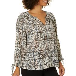 Zac & Rachel Petite Mixed Dots Print Tie Sleeve Top