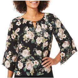 Zac & Rachel Petite Floral Print Split Bell Sleeve Top