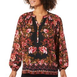 Zac & Rachel Petite Bloom Floral Long Sleeve Top