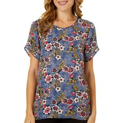 DR2 Petite Floral Design Crew Neck Tiered Sleeve Top