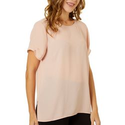DR2 Petite Solid Crew Neck Tiered Sleeve Top