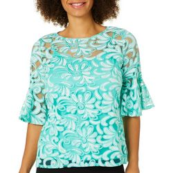 NY Collection Petite Scroll Leaf Burnout Bell Sleeve Top