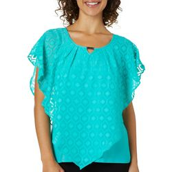 NY Collection Womens Textured Sheer Poncho Top