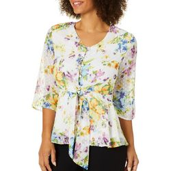 NY Collection Petite Floral Clip Dot Button Down Top