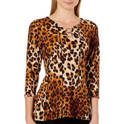 NY Collection Petite Leopard Print Panel Top