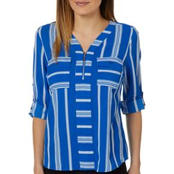 NY Collection Petite Stripe Zip Front Henley Top