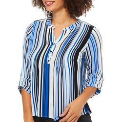 NY Collection Petite Striped Button Front Pintuck Top