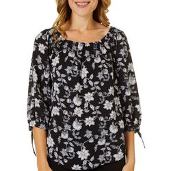 NY Collection Petite Floral Tie Sleeve Round Neck Top