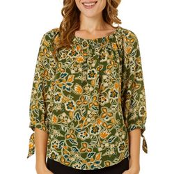 NY Collection Petite Floral Paisley Tie Sleeve Top