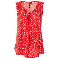 Allie & Rob Petite Polka Dot Print V-Neck Sleeveless Top