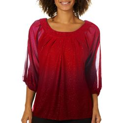 Sara Michelle Petite Pleated Ombre Glitter Ruched Sleeve Top