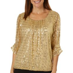 Sara Michelle Petite Sequin Embellished Ruffle Sleeve Top