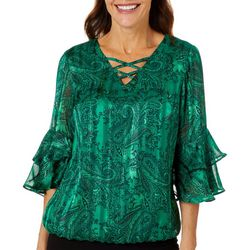 Sara Michelle Petite Paisley Print Bell Sleeve Top
