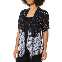 Sara Michelle Petite Floral Dot Sheer Duet Top