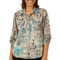 Sara Michelle Petite Mixed Abstract Print Button Down Top