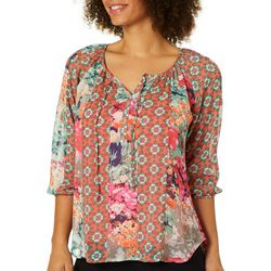 Figueroa and Flower Petite Floral Abstract Tie Neck Top