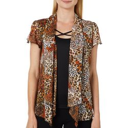 Sara Michelle Petite Animal Print Crisscross Duet Top