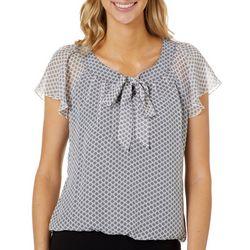Sara Michelle Petite Geometric Print Flutter Sleeve Top