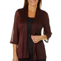 Sara Michelle Petite Necklace & Metallic Cardigan Duet Top