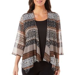 Sara Michelle Petite Mixed Damask Duet Top