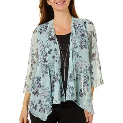 Sara Michelle Petite Floral Print Duet Necklace Top