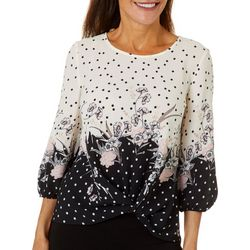 Sara Michelle Petite Mixed Floral Dot Print Twist Front Top