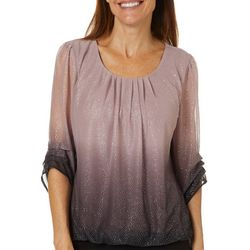 Sara Michelle Petite Ombre Glitter Ruched Sleeve Top