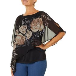 Sara Michelle Petite Floral Print Poncho Top
