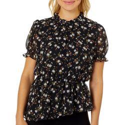 L.N.V. Petite Floral Ruffle Neck Short Sleeve Top