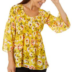 Spense Petite Floral Smocked Bell Sleeve Top