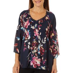 Spense Petite Floral Pleated Bell Sleeve V-Neck Top