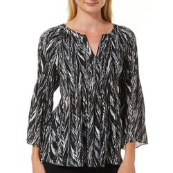 Spense Petite Mixed Print Bell Sleeve Split Neck Top