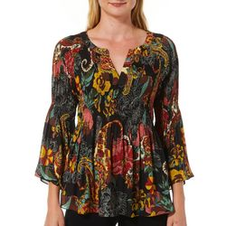 Spense Petite Mixed Floral Print Bell Sleeve Split Neck Top