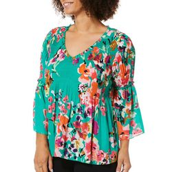 Spense Petite Floral Ruffle Bell Sleeve V-Neck Top